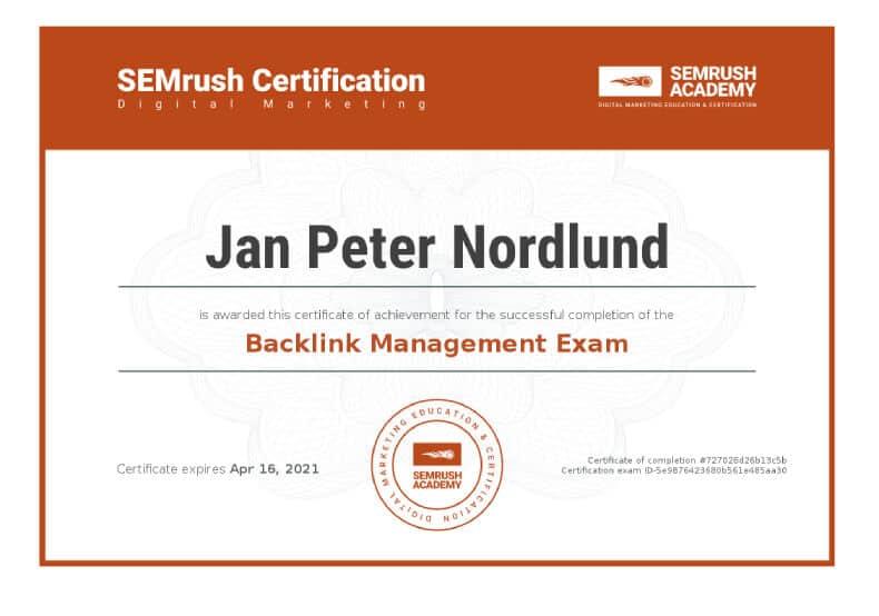 Certificate SEO Rank tracking