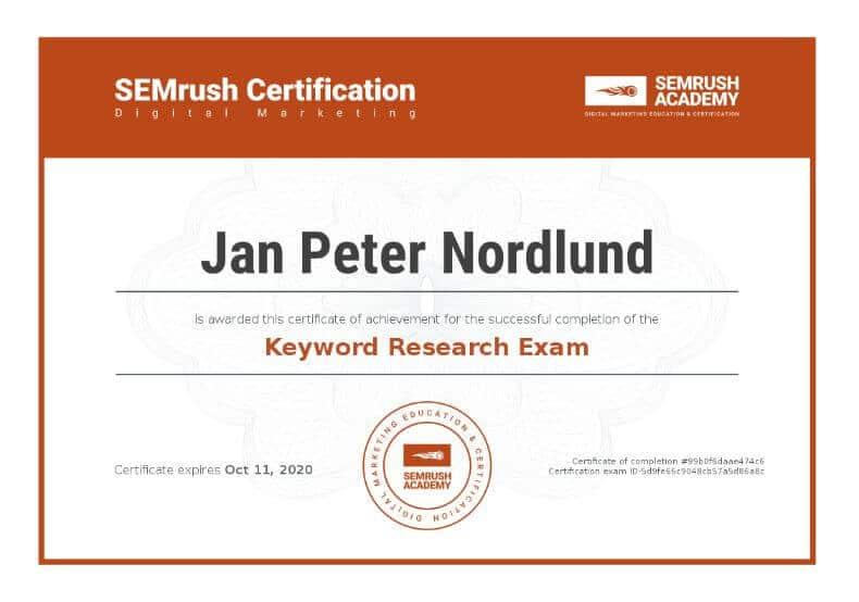 Certificate SEO keyword research