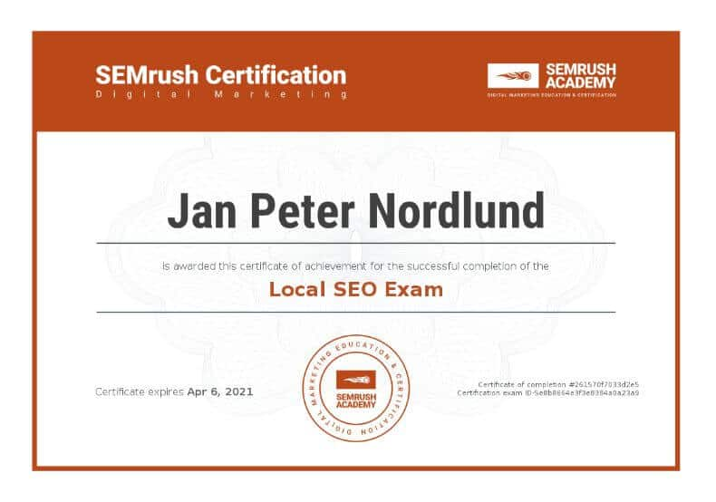 Certificate Lokal sökmotoroptimering